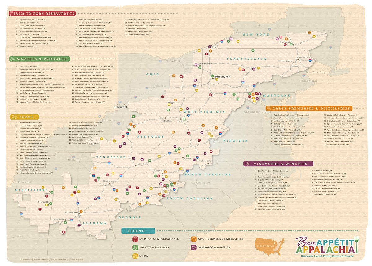 Appalachian Regional Food Trail & Map - Destination by Design on map of greater los angeles area, map of indonesian archipelago, map of kansas city metro area, map of 48 contiguous states, map of northern tier, map of the canadian shield, map of southeastern united states, map of eastern world, map of united sates, map of southwestern united states, map of upper peninsula of michigan, map of lower 48 states, map of midwestern united states, map of kansas city metropolitan area, map of contiguous united states, map of tri-state area, map of chesapeake bay watershed, map of tokyo metropolitan area, map of mid-atlantic states, map of washington, dc metropolitan area,