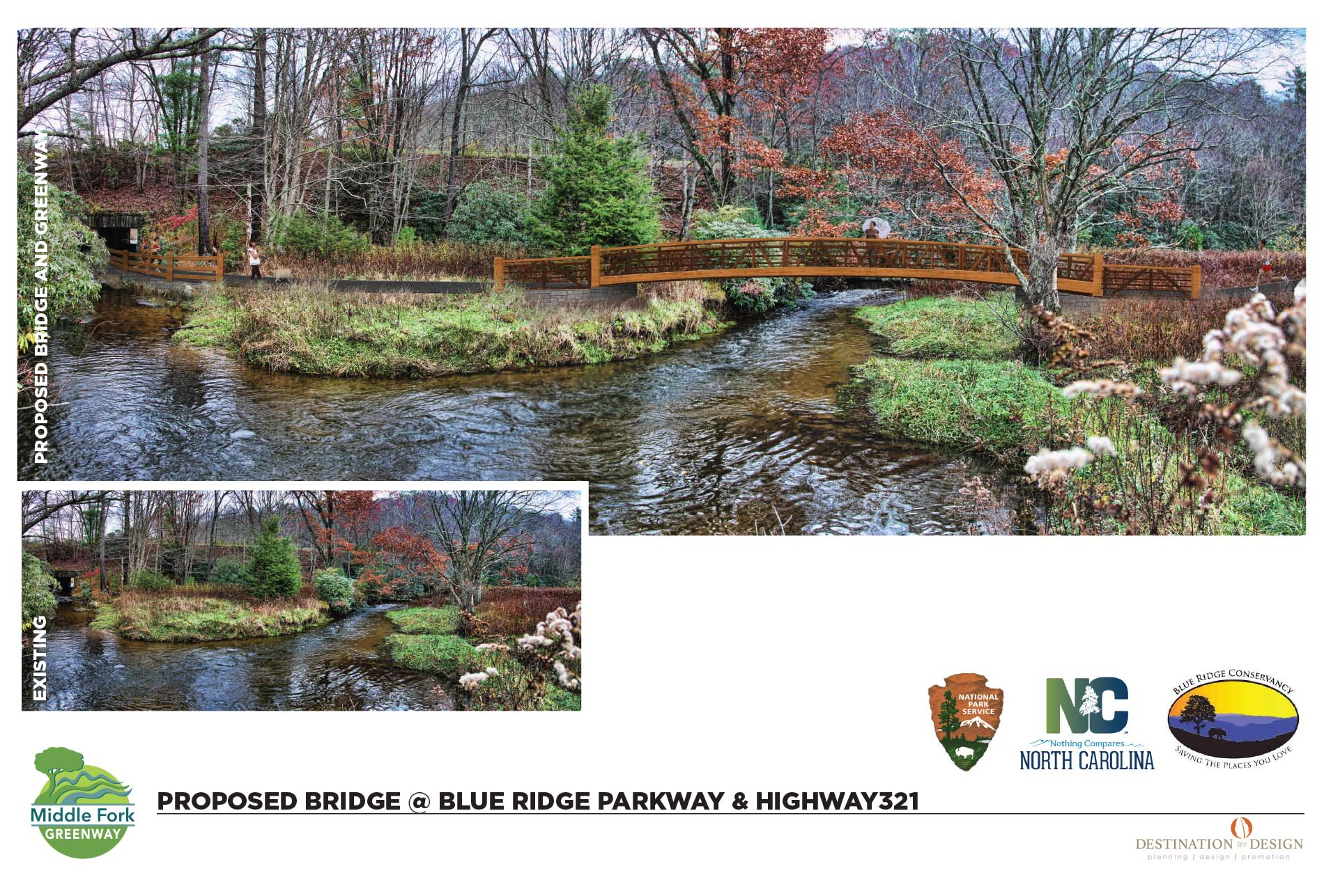 destination by design proposed bridge at blue ridge parkway and highway 321. Wooden bridge crossing a river and then going into a tunnel