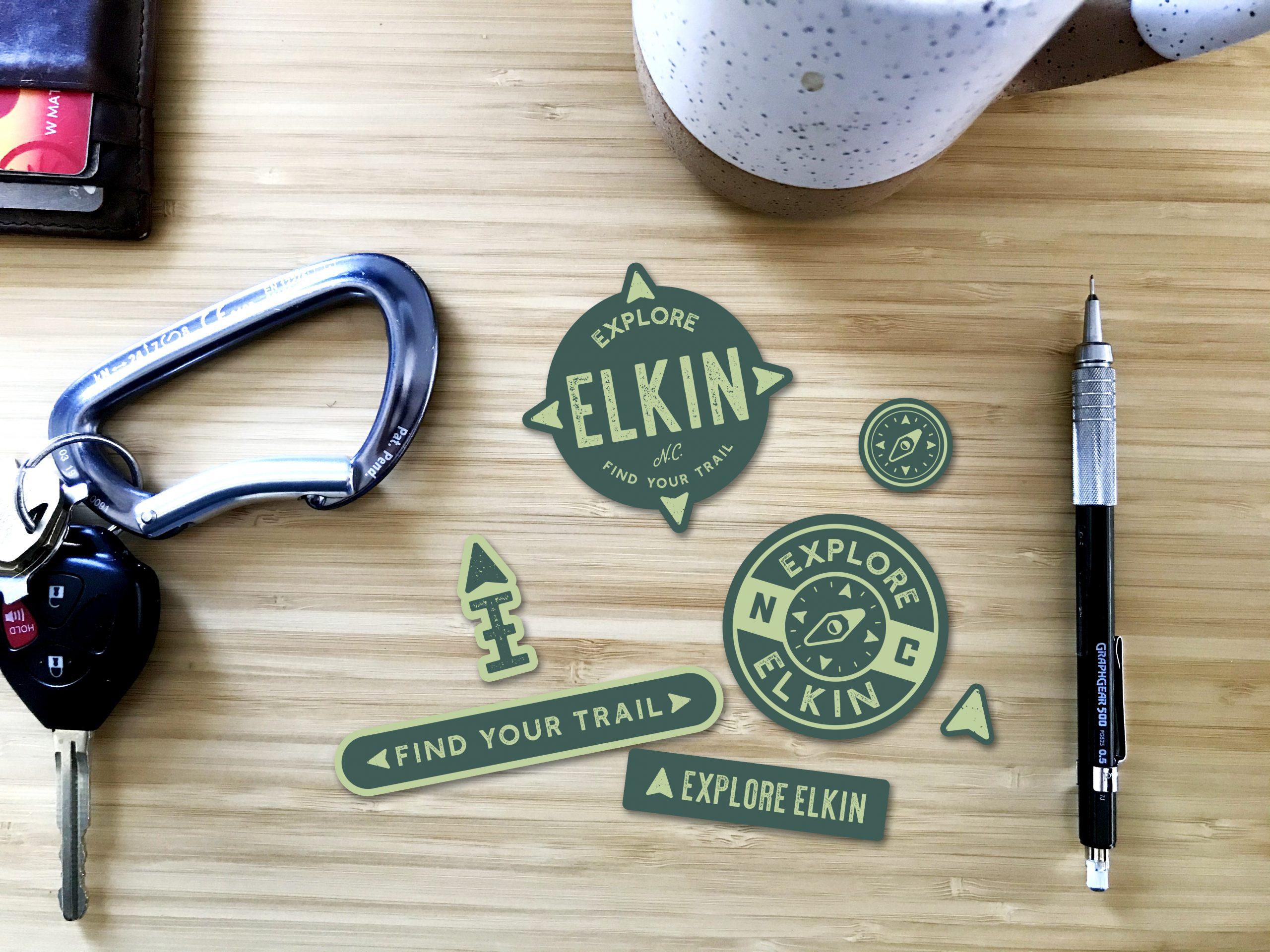 Elkin stickers mockup